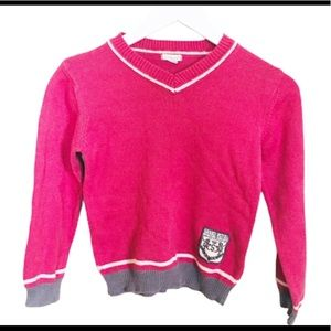 VERTBAUDET Varsity Badge Knit Sweater Pink Boys 8Y
